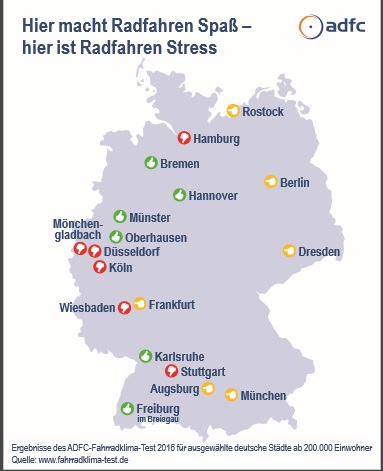 ADFCFahrradklimaTest What Is The Best Cycling City In Germany - Germany map test