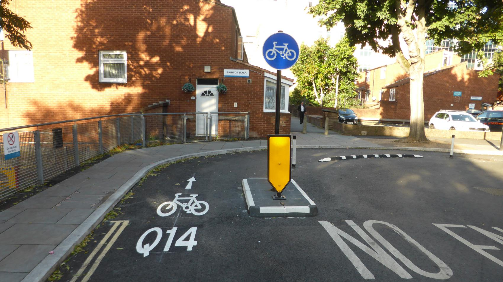 Quietway 14 (under development): light segregation of contraflow cycling on Dolben and Chancel St.