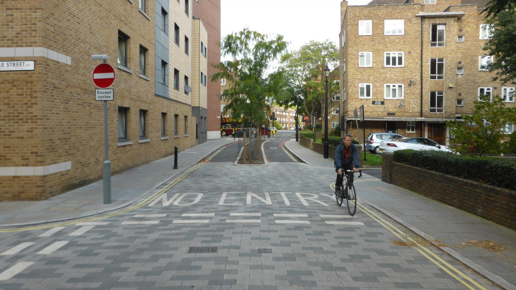 Quietway 1: a section of Globe Street between Cole St. and Greater Dover St. is closed for cars, but open for bikes.