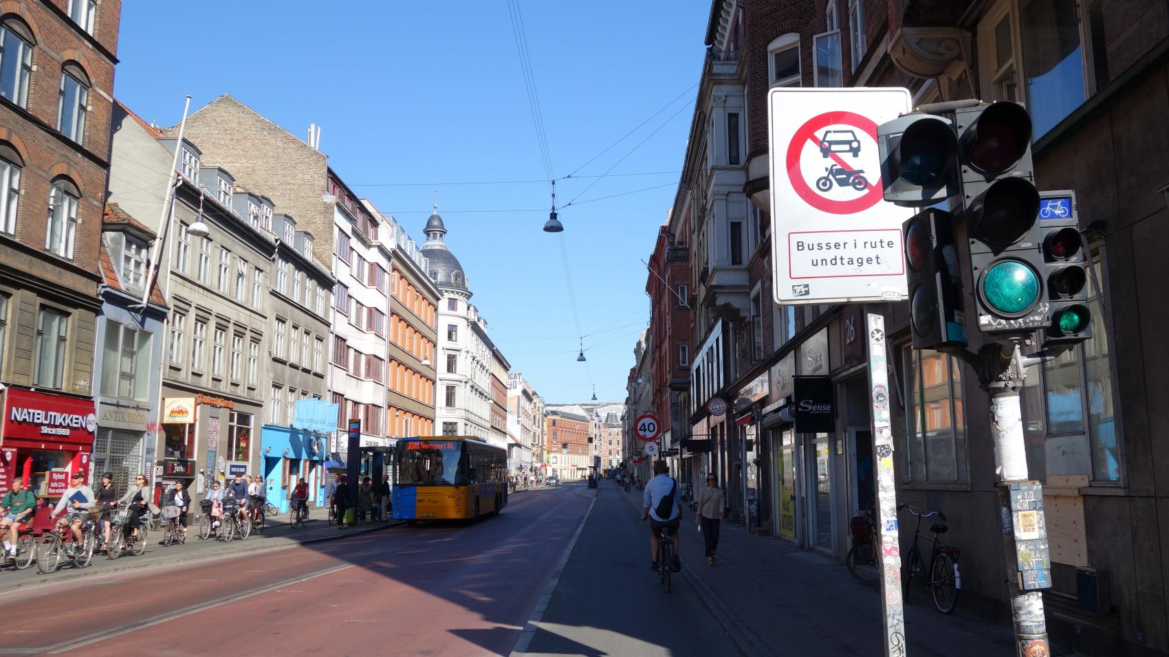 One of the sections of Nørrebrogade closed to motorised traffic. Only bicycles and busses are allowed through the next 100 m.