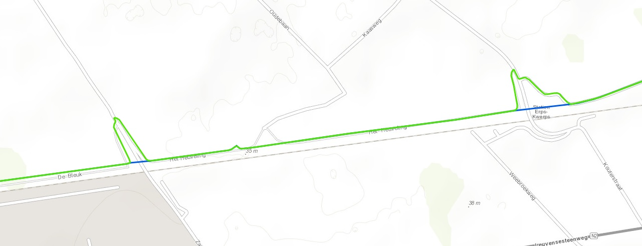 Existing route of the cycle highway (green) and location of the planned shortcuts in Kortenberg (blue).