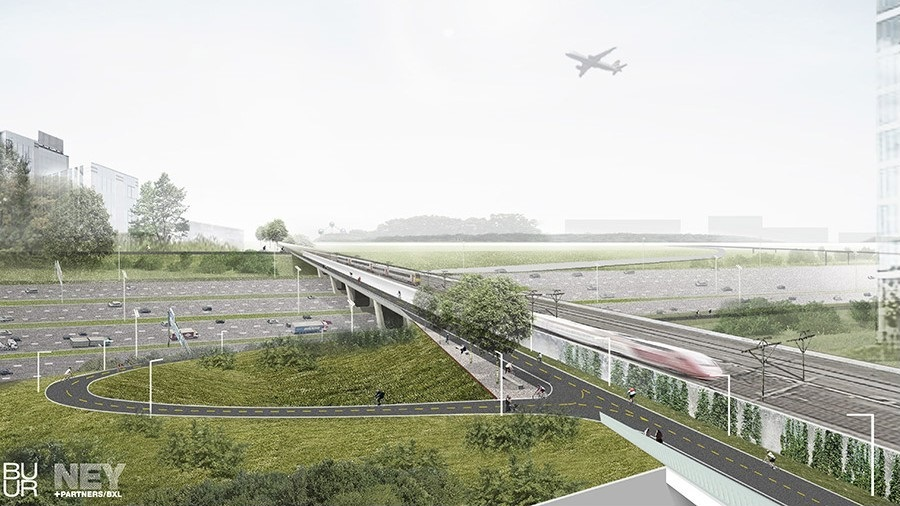 Planned bicycle bridge alongside the railroad viaduct across Brussels ring road.